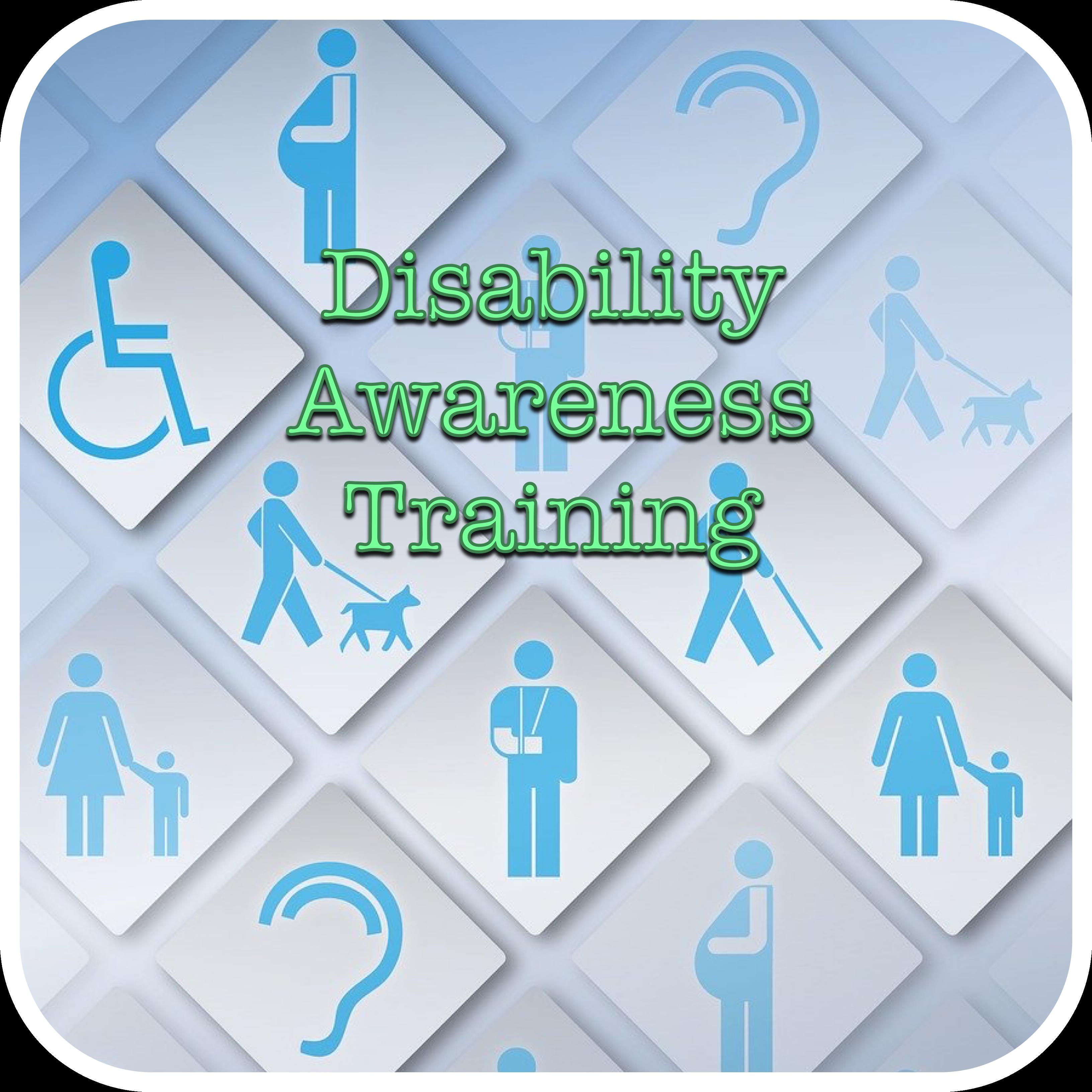 Disability Awareness Training Logo (montage of disability symbols)