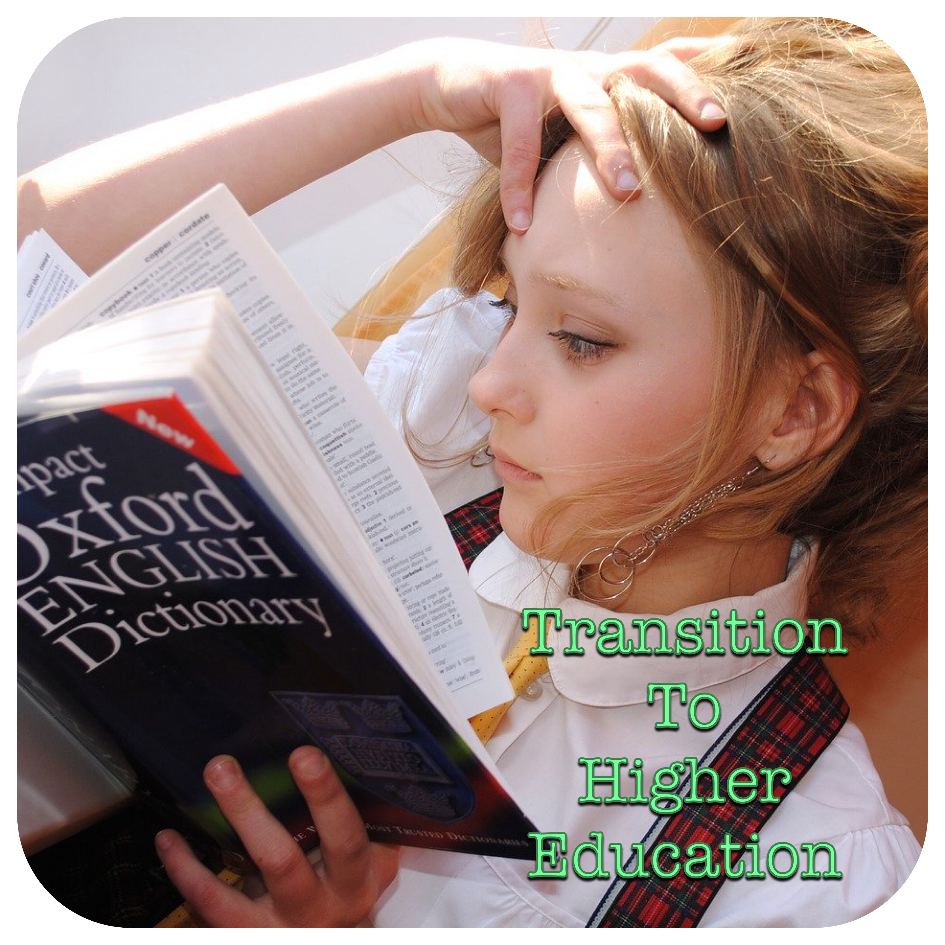 Transition to Higher Education (Girl reading dictionary)