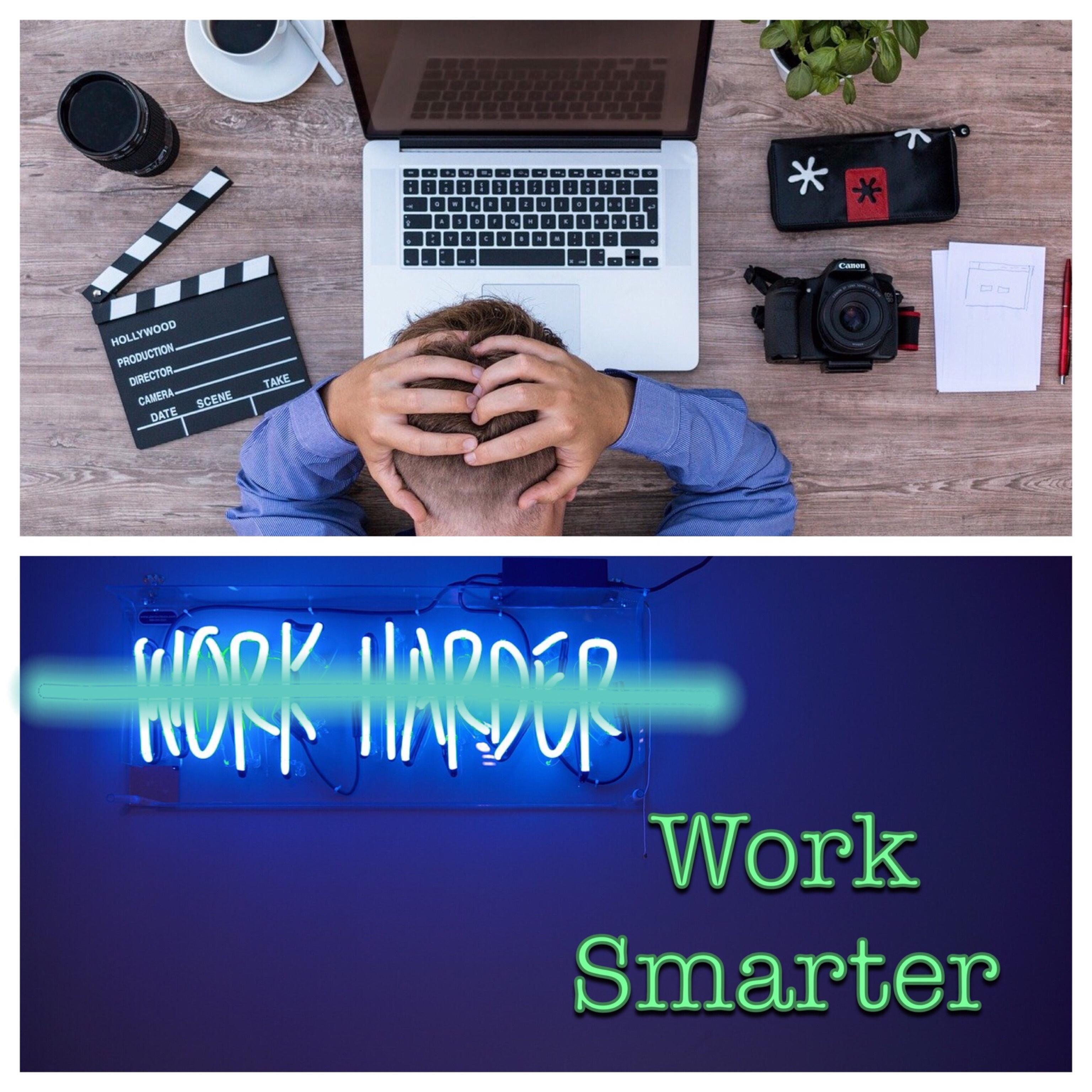 Work Smarter Logo (stressed man/ crossed out work harder)