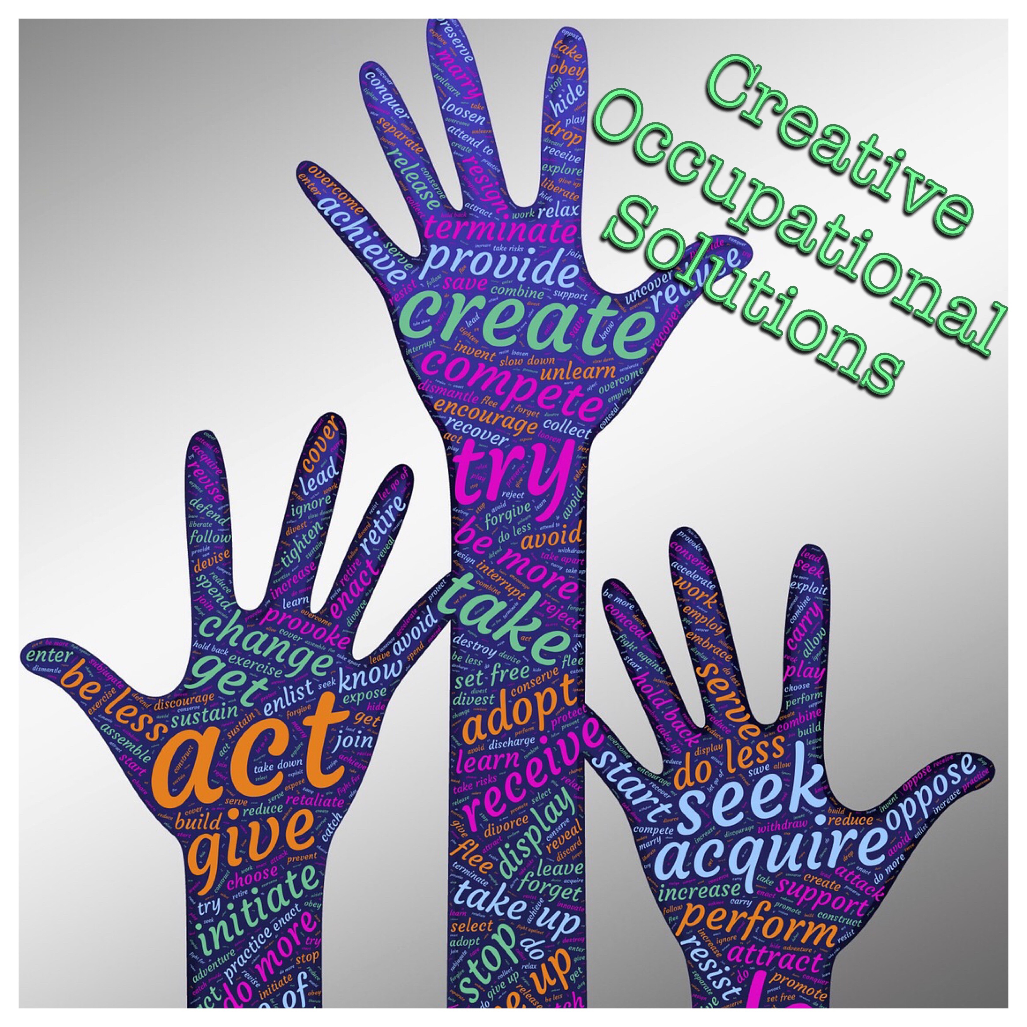 Creative Occupational Solutions Logo (hands with word art re creativity)