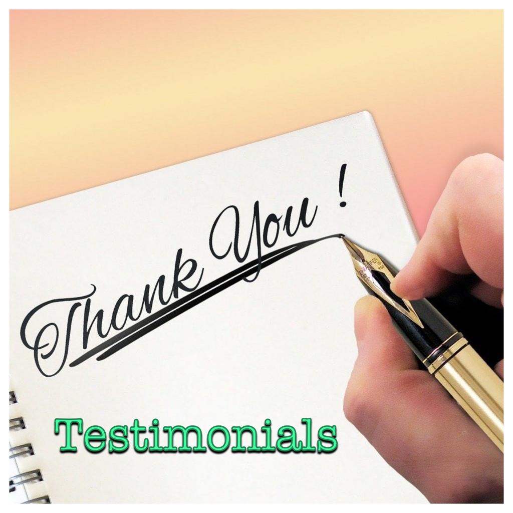 Testimonials logo (Thank you note and fountain pen)