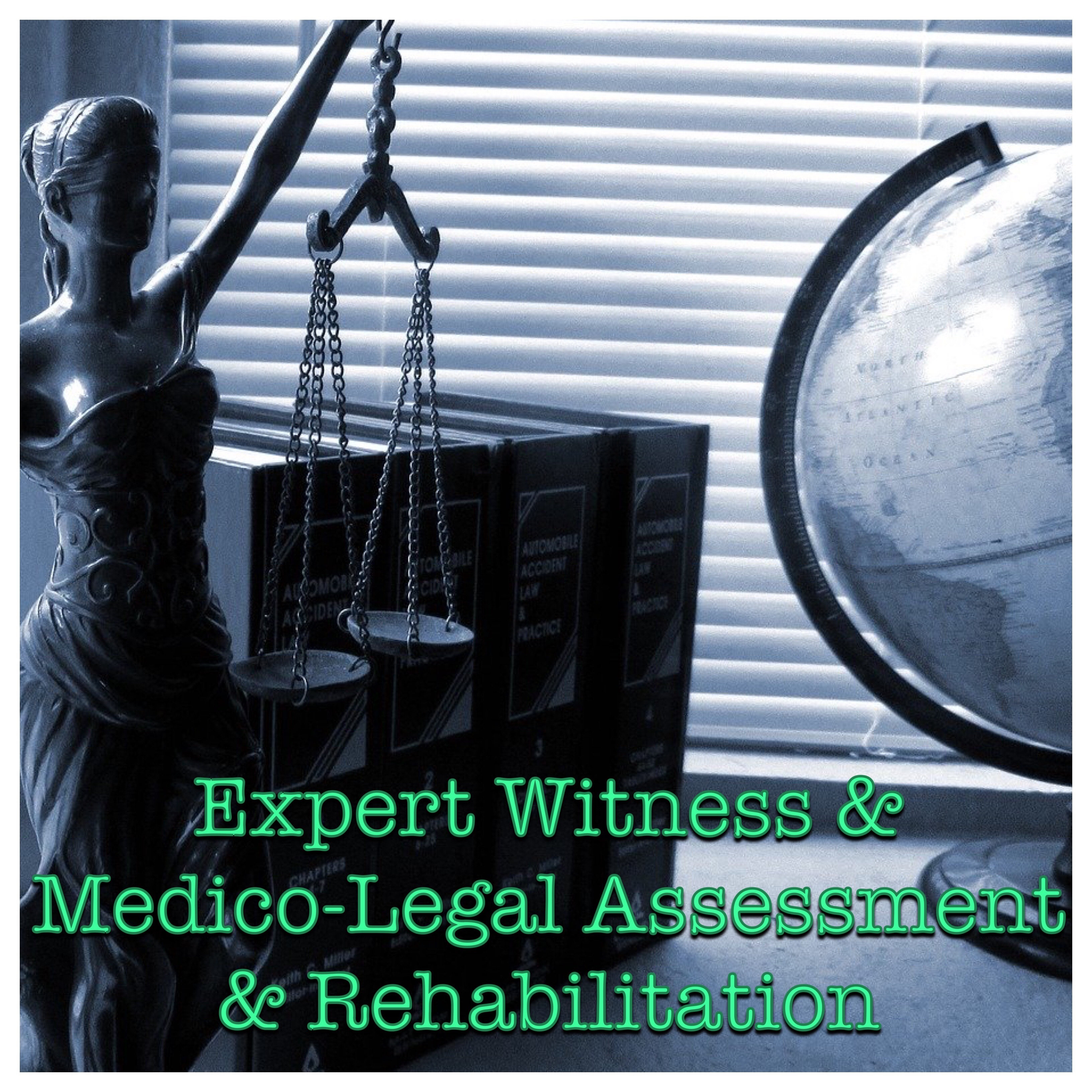Expert Witness & Medico-Legal Assessment & Rehabilitation Logo (Lady Justice holding scales)