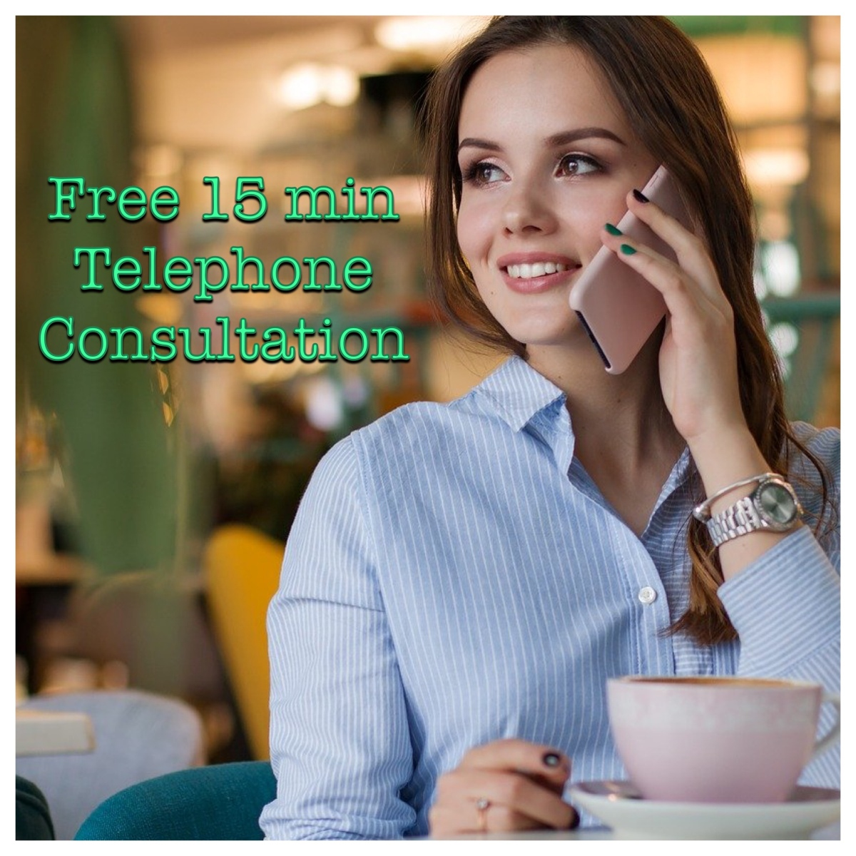 Free 15 min Telephone Consultation Logo (Woman on phone)